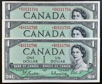 1954 Bank Of Canada 1$ Set of 3 Consecutives Replacement *B/M Prefix BC-37bA-i