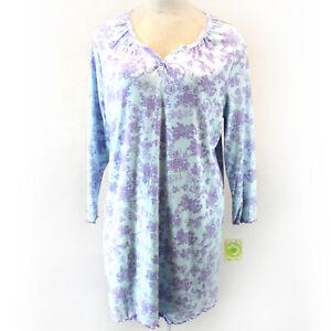White Orchid Button Blue/Purple Floral Long Sleeve Nightie Sleepwear 3X