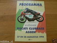 1994 DUCATI CLUBRACES CIRCUIT ASSEN PROGRAMMA,DUCATI CLUB NEDERLAND