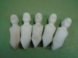 "Five antique porcelain dollhouse dolls, 2"", 5 cm, Hertwig & Co., Germany"
