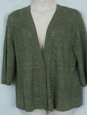 3h C.J. BANKS womens plus 2X green knit V neck 2 button stretch sweater shirt