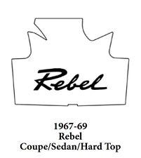 1967 1969 AMC Cpe Sdn & HT Trunk Rubber Floor Mat Cover w/ A-043 Rebel Script