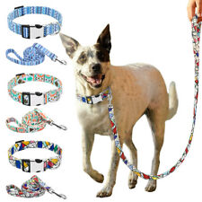 Personalized Nylon Dog Collar Leash set Engraved ID Name Tag Pet Walking Lead