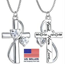 Crystal Cross LOVE Pendant Necklace Jewelry FAITH HOPE LOVE! Great Gift! 4fd6145b090b