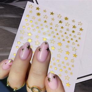 3D Gold Stars Nail Stickers Art DIY Designs Waterproof Decal Manicure Decor US