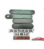 Kit custode Peugeot 205 GTI GRIFFE noire + Monogrammes Peugeot 205 GTI