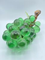 """Lucite Grape Cluster Green Acrylic Vintage Mid Century Real Driftwood Approx 14"""""""