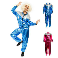 80s Mens Womens Shiny Metallic Tracksuit Scouser Shell Suit Fancy Dress Costume