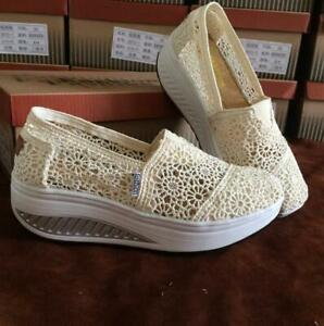 Summer Women's Loafers Shoes Comfort  Hollow Lace Wedge Mesh Shoes
