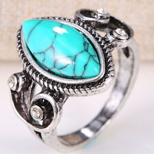 Women 925 Silver Natural Turquoise Gemstone Size6-10 Wedding Bridal Engagement