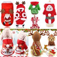 Christmas Santa Pet Dog Cat Clothes Warm Coat Hoodie Puppy Jumpsuit Vest Costume