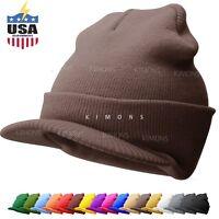 Bill Visor Cuff Beanie Knit Cap Hat Ski Thick Brim Warm Winter Unisex US MADE