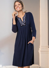 Blue Tunic Dress with Pockets and a Silver Embroidered Velvet Panel Detail (big)