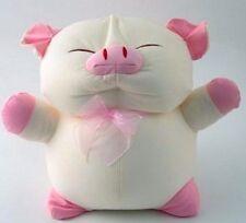 "Snow Foam Micro Beads 14""-16"" Full Size Pig pink ribbon Cushion Pillow-Brand New"