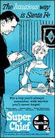 1962 Santa Fe Super Chief Train woman dining car coffee vintage art print ad L29