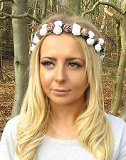 Brown White Rose Flower Garland Headband Hair Crown Bridesmaid Boho Small 2054