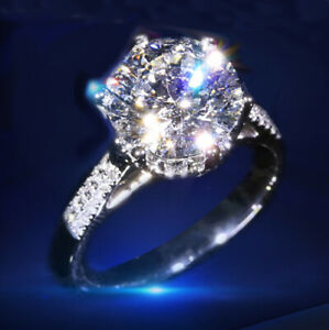 2CT Statement Solitaire Round Engagement Ring Diamond Round CUT 14K Womens Rings