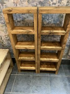 Chunky rustic tall bookcase, reclaimed pine units finished in medium oak