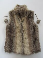 Women's BRAVE SOUL Faux Fur OYSTER GILET with FUR POMPOMS size 10