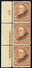Porto Rico #214, Mint VF OG PL# & Imprint Strip of 3 CV $150 -- Stuart Katz