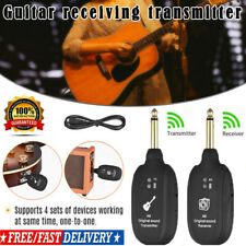 More details for uhf wireless guitar bass system transmitter & receiver rechargeable 50m range