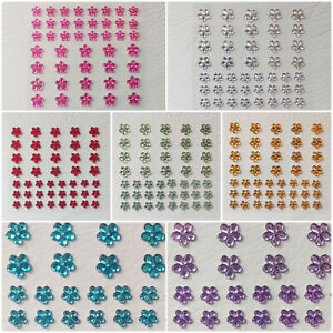 44 Floral Self Adhesive Rhinestone Flowers, Flower Gems for Crafts 6mm 8mm