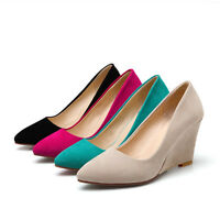 Ladies Fashion Pointed Toes Shoes Faux Suede Wedge High Heels Pumps us Size S332