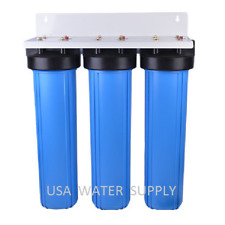 "BIG BLUE 20"" WATER FILTER SYSTEM 1"" TRIPLE WHOLE HOUSE/COMMERCIAL"