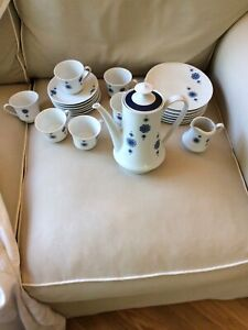 Mitterteich Bavaria Vintage Coffee Tea 21pc Set Retro Blue Geometric Pattern