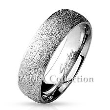 FAMA 6mm Stainless Steel Sand Sparkle Finish Dome Surface Ring Band Select Size
