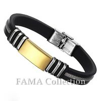 Stylish FAMA Black Rubber Bracelet w/ Stainless Steel Gold IP Plate & Mesh Inlay