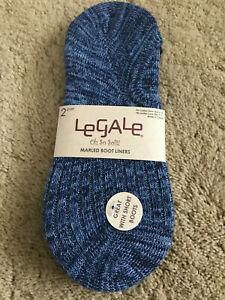 LeGale Womens Marled Boot Liners 2 Pair Size 4-10 Blue  Blue New