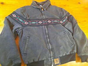 Vintage Carhartt Small Black Jacket Coat Aztec Navajo Stripe 90s Faded