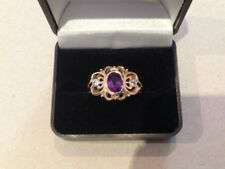 GENUINE SOLID 9K YELLOW GOLD AMETHYST AND TOPAZ RING /DRESS RING/COCKTAIL RING