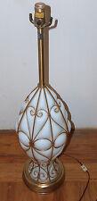"Vintage MARBRO Originals 34"" White Venetian Glass & Brass Caged Table Lamp Light"