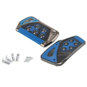 Aluminium Blue Accelerator AT Car Universal Automatic Foot Rest Pedals Pad Cover