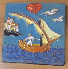 VINTAGE Antique Ceramic Art Tile FISHING BOAT SEA Seagulls Dutch? Spain Italy?