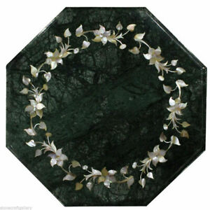"""12"""" Green Octagon Marble Top Coffee Table Pauashell Inlay Floral Art Decors B913"""