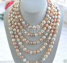 "Rare Long 80 ""10-12mm AAA blanc rose Collier de perles d'eau douce baroque pourp"