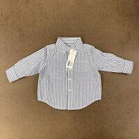 Janie And Jack Baby Boy Size 3-6 Months Slate Blue Striped Oxford Shirt NWT