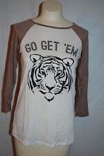 Womens Shirt 3/4 SLEEVE JERSEY Rue 21 WHITE BROWN Go Get 'Em TIGER Size L 12-14