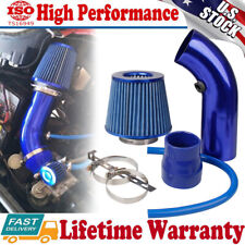 Universal 3' Car Cold Air Intake Filter Induction Kit Aluminum Pipe Hose Blue