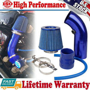 Universal 3'' Car Cold Air Intake Filter Induction Kit Aluminum Pipe Hose Blue