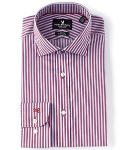 Psycho Bunny Modern Slim Fit Dress Shirt 17.5 34/35 Purple Stripes Stretch NWT