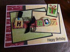 New listing Handmade greeting card Happy Birthday Hooray 3-D