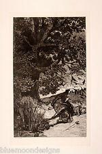 """MAX KLINGER 1881 """" Gefallene Reiter """" Original Radierung Intermezzi Opus IV"""