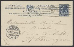 1902 Webb #P22 2c Leaf UPU Card to Germany, Late Use Ottawa M4 Machine FEB 26