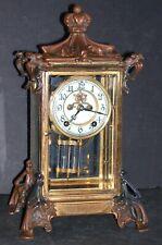 Antique New Haven  Art Nouveau Crystal Regulator Mantle Clock Open Escapement