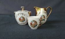 Vintage Hand-Painted Bavaria Creamer Sugar Bowl & Small Tea Cup Fragonard Scene