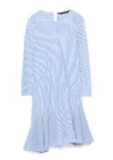 ZARA ASYMMETRIC BLUE & WHITE STRIPED DRESS FRILL HEM *SMALL/UK 8* BNWT *0881/283